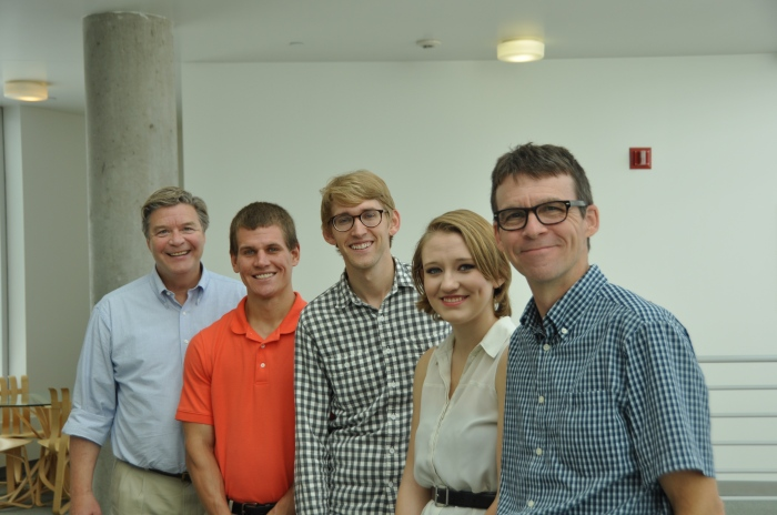From left, Jerry Schnoor, Nick Fetty. KC McGinnis, Maggie St. Clair, and Joe Bolkcom.