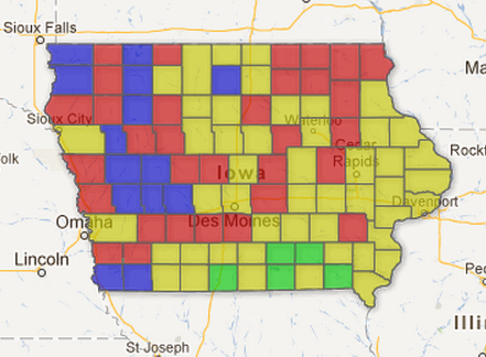 Map Iowa Counties Average Indoor Radon Levels Iowa - Map of iowa counties