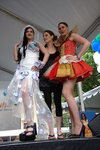 Participants in the EPA Earthfest Recycled Fashion Show in Dallas, TX. Photo by  steevithak, Flickr.