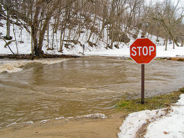 Winter flooding in Dolliver State Park, Iowa.