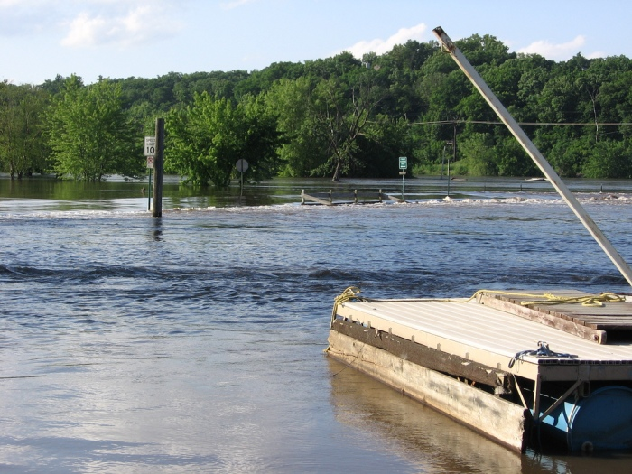 The Cedar River during the flood of 2008. Photo by gmzflickr; Flickr