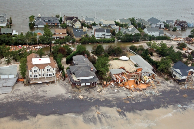 Aerial photos of New Jersey coastline in the aftermath of Hurricane Sandy