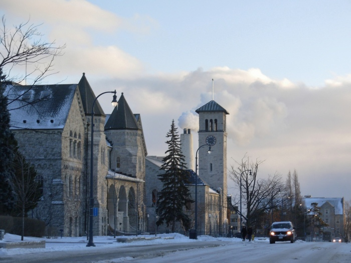 Ontario Hall (left) and Grant Hall (right) on the Queen's University campus in Kingston, Ontario. Photo by Aidan Wakely-Mulroney; Flickr