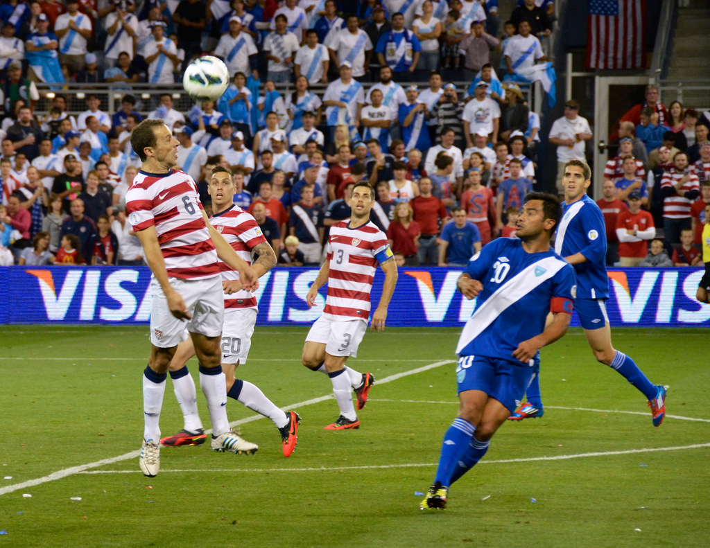The United States taking on Guatemala during a qualifying match for the 2014 World Cup. Photo by Brent Flanders; Flickr