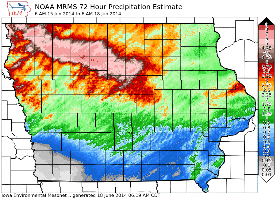 Iowa Environmental Mesonet graphic of rainfall totals from 6 a.m. June 15 to 6 a.m. June 18.