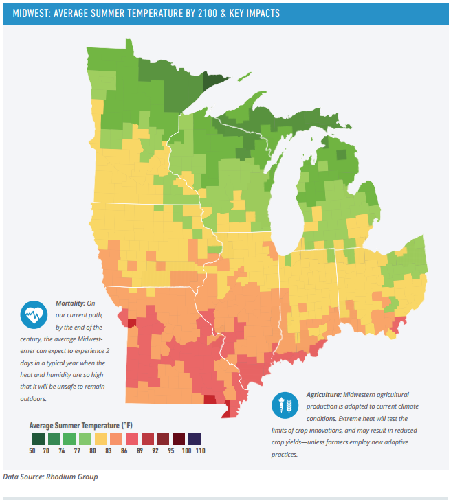 A page from the Risky Business Report's section on the Midwest, which highlights the effects of warming temperatures on the region.