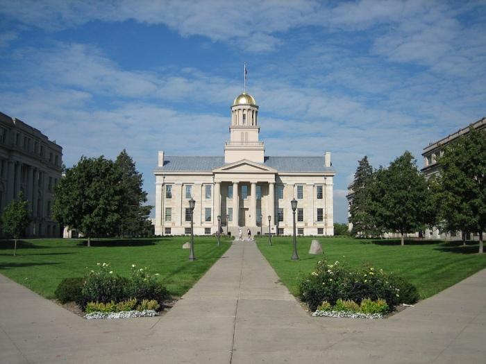 The Old Capitol Building on the University of Iowa campus. Photo by Matthew Anderson; Flickr