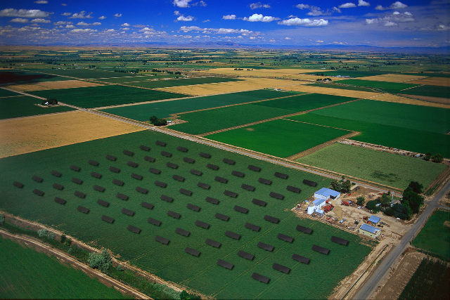 Concentrated photovoltaics (CPV) solar farm in Canyon County, Idaho. Photo by Nicolas Morgan; Flickr