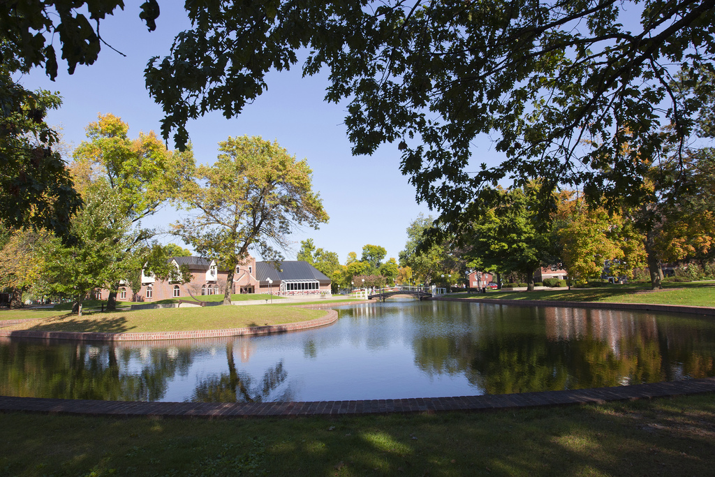 Central College Pond on the Central College campus in Pella, Iowa. Photo by Central College Alumni; Flickr