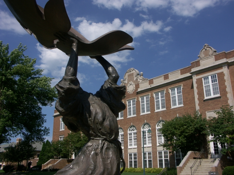 Dancing St. Francis statue on the Wartburg College campus. Photo via Wikipedia Commons