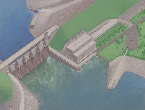 An artist rendering of the $380 million  Red Rock Hydroelectric Project (Missouri River Energy Services)