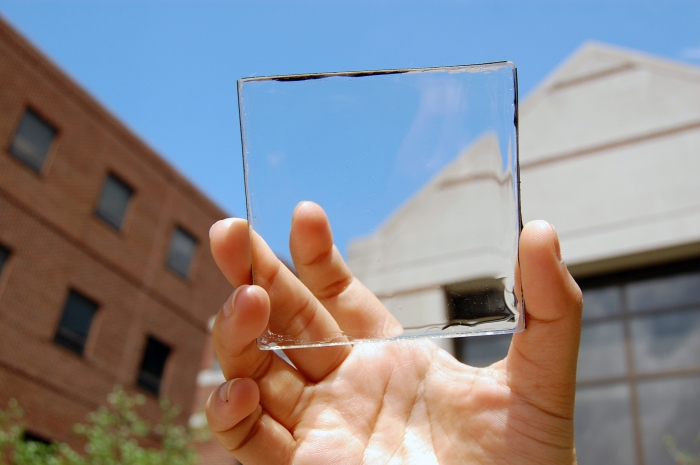 A transparent luminescent solar concentrator module. (Photo by Yimu Zhao)