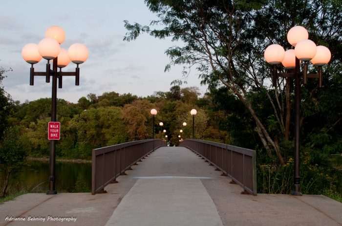 A footbridge across the Iowa River in Iowa City. (Adrianne Behning/Flickr)