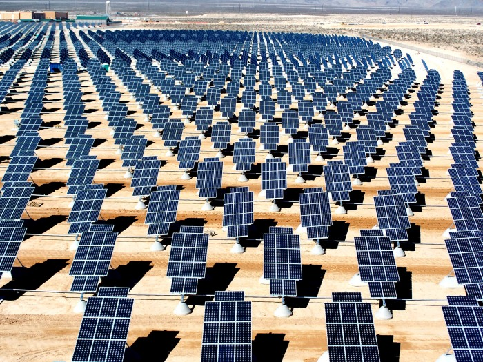 The Nellis Solar Power Plant covers 140 acres in southern Nevada. (U.S. Air Force photo/Airman 1st Class Nadine Y. Barclay)