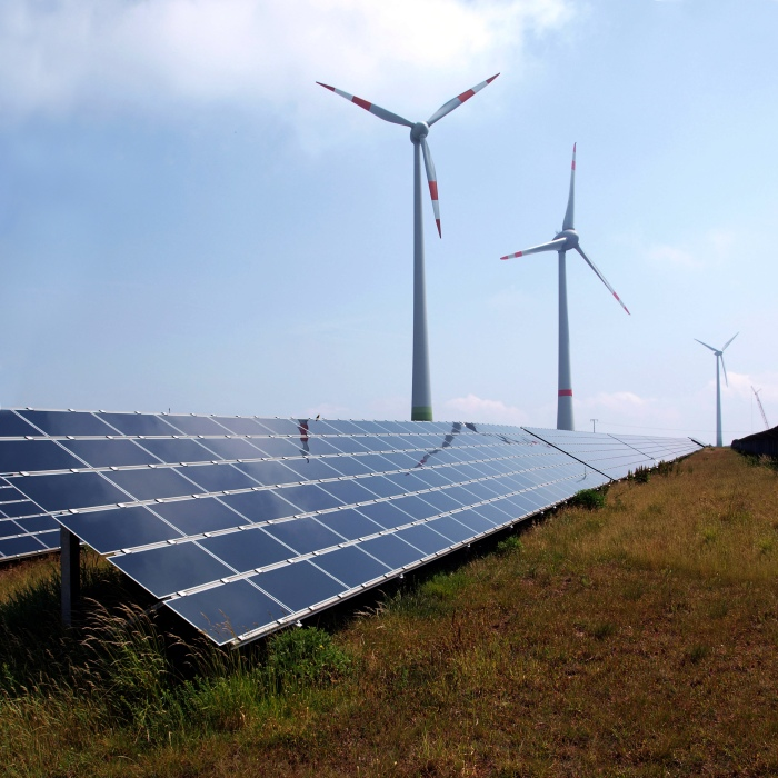 Wind and solar energy work side-by-side in Germany. (Wikimedia)