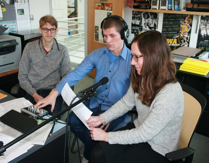 Iowa Environmental Focus - On The Radio recording session. From left: KC McGinnis, Nick Fetty, and Betsy Stone. (Photo by Mary Moye-Rowley)