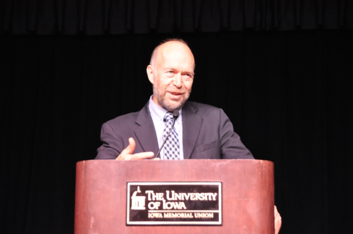 Approximately 150 attendees listened to Dr. James Hansen discuss climate change and alternative energy in the Iowa Memorial Union Main Ballroom on Thursday October 16, 2014. (Photo by Nick Fetty)