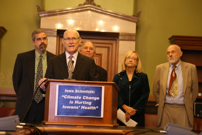 at the announcement of the Iowa Climate Statement 2014 at the Iowa State Capitol in Des Moines on Friday, October 10, 2014.