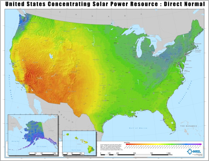 A map of solar power concentration across the United States. (National Renewable Energy Laboratory)