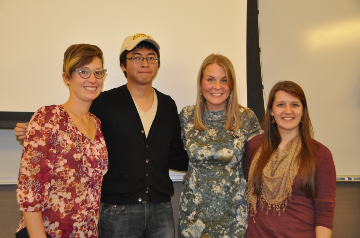 The fall 2014 Clime Narrative Project fellows. From left, Erica Damman, Jeffrey Ding, Jenna Ladd, and Sarah Nagengast. (Photo by Nick Fetty)