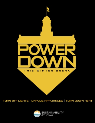 A flyer for the University of Iowa's Power Down campaign.