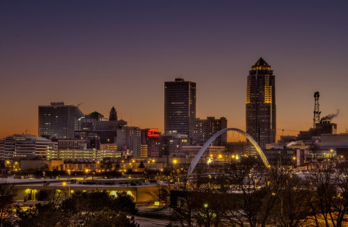 The Des Moines skyline at dusk (Jason Mrachina / Flickr)