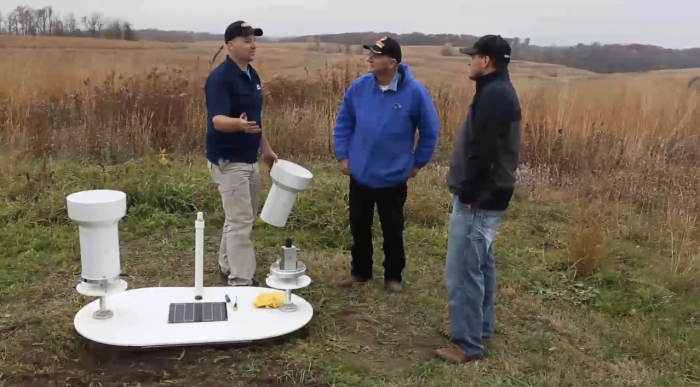 A still from a documentary on the development of a flood sensor network in Iowa produced by the UI Center for Global & Regional Environmental Research.
