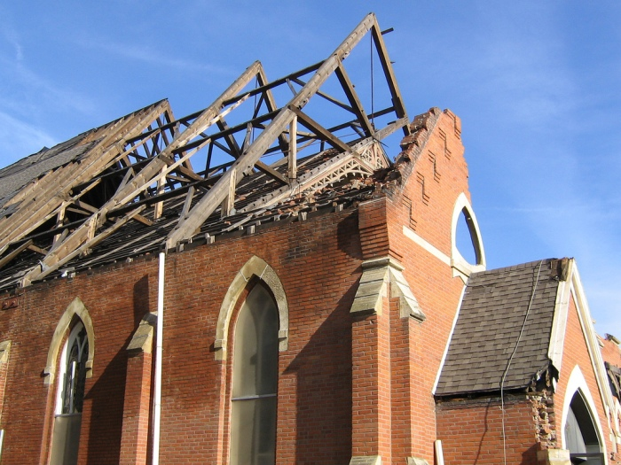 Damage to the roof of St. Patrick Catholic Church in Iowa City from a 2006 tornado. (Laura Crossett / Flickr)
