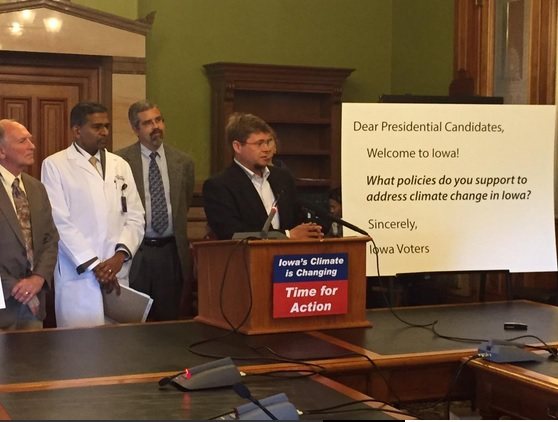 Chris Anderson, Assistant Director of the Climate   Science Program at Iowa State University, spoke during the press conference for the 2015 Iowa Climate Statement at the Iowa capitol in Des Moines on Monday May 11, 2015. (Joe Bolkcom/Twitter)