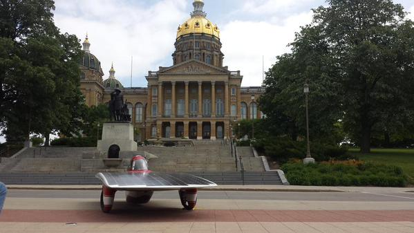 The solar car outside of the statehouse in Des Moines (Team PrISUm/Twitter)