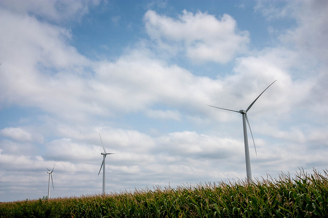 Iowa's investment in wind energy has lessened the state's need to implement measures to be in compliance with the EPA's new Clean Air Act. (Michael Leland/Flickr)