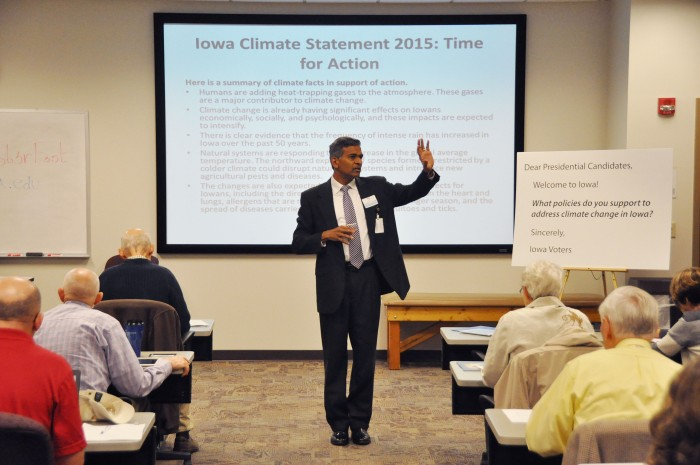 Des Moines University Associate Dean of the Department of Global Health Yogesh Shah speaks during the Climate Science Educators Forum at Des Moines University on Friday, October 9, 2015. ©2015 KC McGinnis