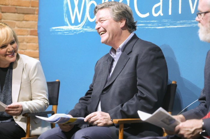 CGRER co-founder Jerry Schnoor speaks at a World Canvass event celebrating CGRER's 25th anniversary in 2015.