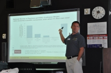 Neal explains a graph that illustrates the various subject expertise new teachers bring to Iowa's schools.