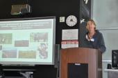 Diane Debinski, professor of ecology, evolution, and organismal biology at Iowa State University, presents on climate change adaptation of grassland ecosystems as reflected by her research.