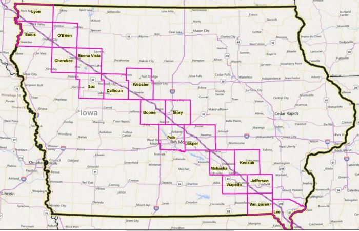 A map of the pipeline route proposed by Texas-based Dakota Access, LLC