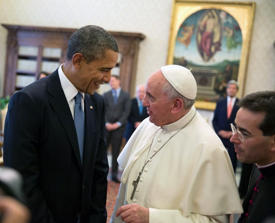Pope Francis meets with U.S. President Barack Obama in the Vatican in 2014 (O'Dea/WikiMedia)