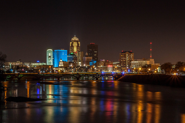 The Des Moines River near downtown Des Moines. (Michael Leland/Flickr)