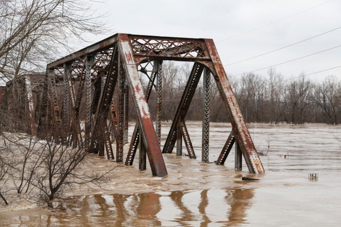 Flooding in St. Louis, one of the hardest-hit areas along the Mississippi.