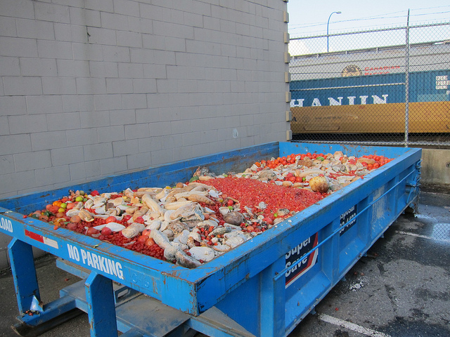 Food waste piles up in this dumpster in Vacouver, British Columbia. (Flickr)
