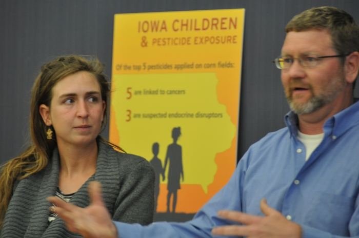 "Mark Quee (right) presents during the panel discussion of the ""Kids on the Frontlne"" report at the Iowa City Public Library on May 10, 2016. Quee is the farm manager at Scattergood Friends School in West Branch. (Nick Fetty/CGRER)"