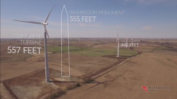 "A screenshot from the ""Reaching New Heights"" video released by MidAmerican Energy Monday. (MidAmerican Energy/YouTube)"