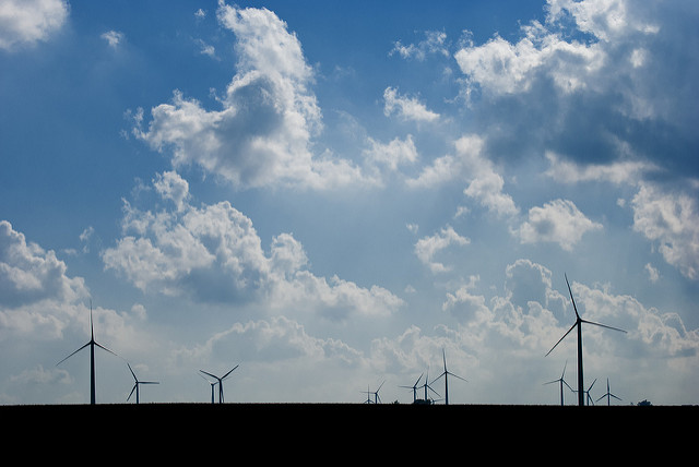 Wind turbines on a field near Clear Lake in Iowa. (Thomas Huston/Flickr)