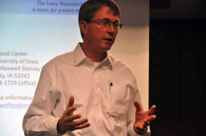IIHR-Hydroscience & Engineering Director Larry Weber presents at the Iowa Watershed Apparoach Kickoff meeting at the Coralville Public Library on June 15, 2016. (Nick Fetty/CGRER)