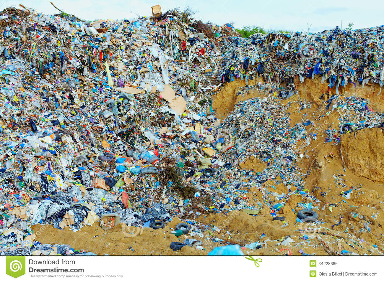tons-plastic-waste-sky-background-blue-34228686