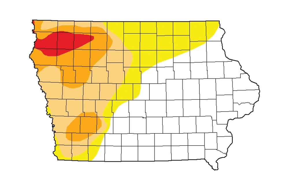 Graphic of Iowa map showing drought conditions